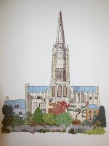 Vivienne Tuddenham - Norwich Cathedral _ Applique & Top Stitch