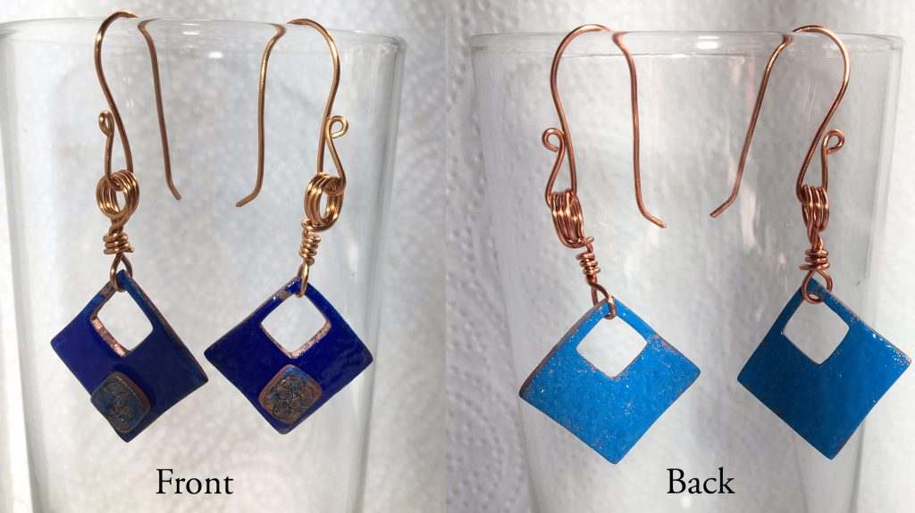 Copper blue square earings -Anne Hickley