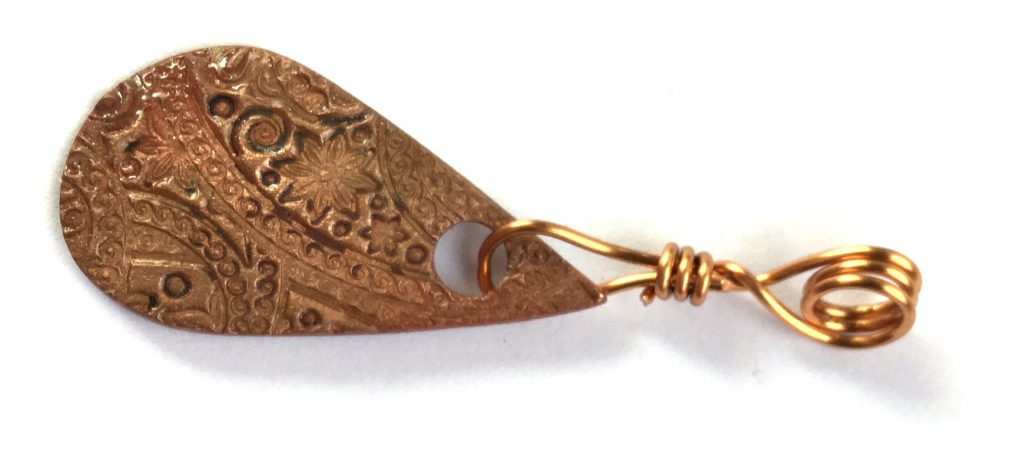 Copper drop pendant -Anne Hickley