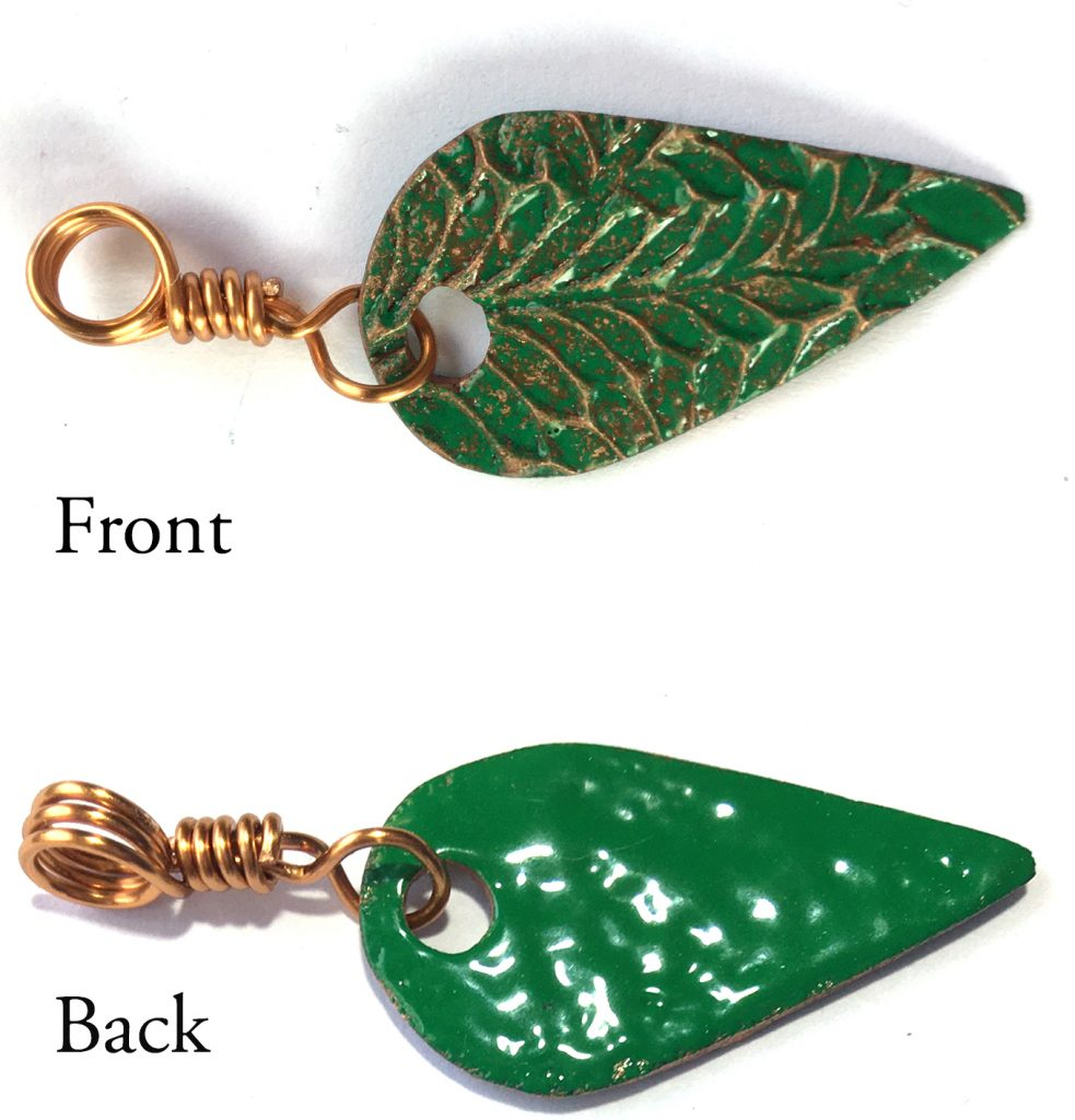 Copper fern pendant wtih green resin -Anne Hickley