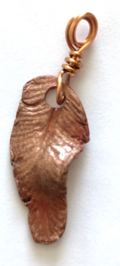 Copper harts tongue fern pendant -Anne Hickley