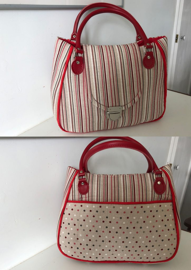 Red Striped Bag Frount and Back -Val Simpson