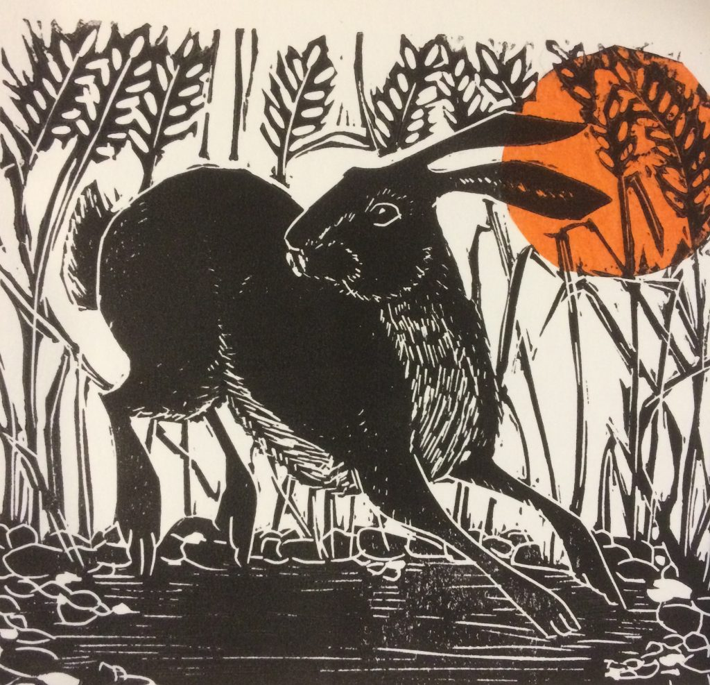 Hare and Sun  -  Linocut  -  15 cm x 15 cm (25 cm x 25 cm mounted)  -  £65