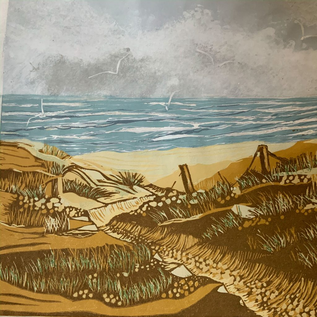 Down To The Beach  -  Linocut  -  30 x 30 cm (50 cm x 50 cm mounted)  -  £135