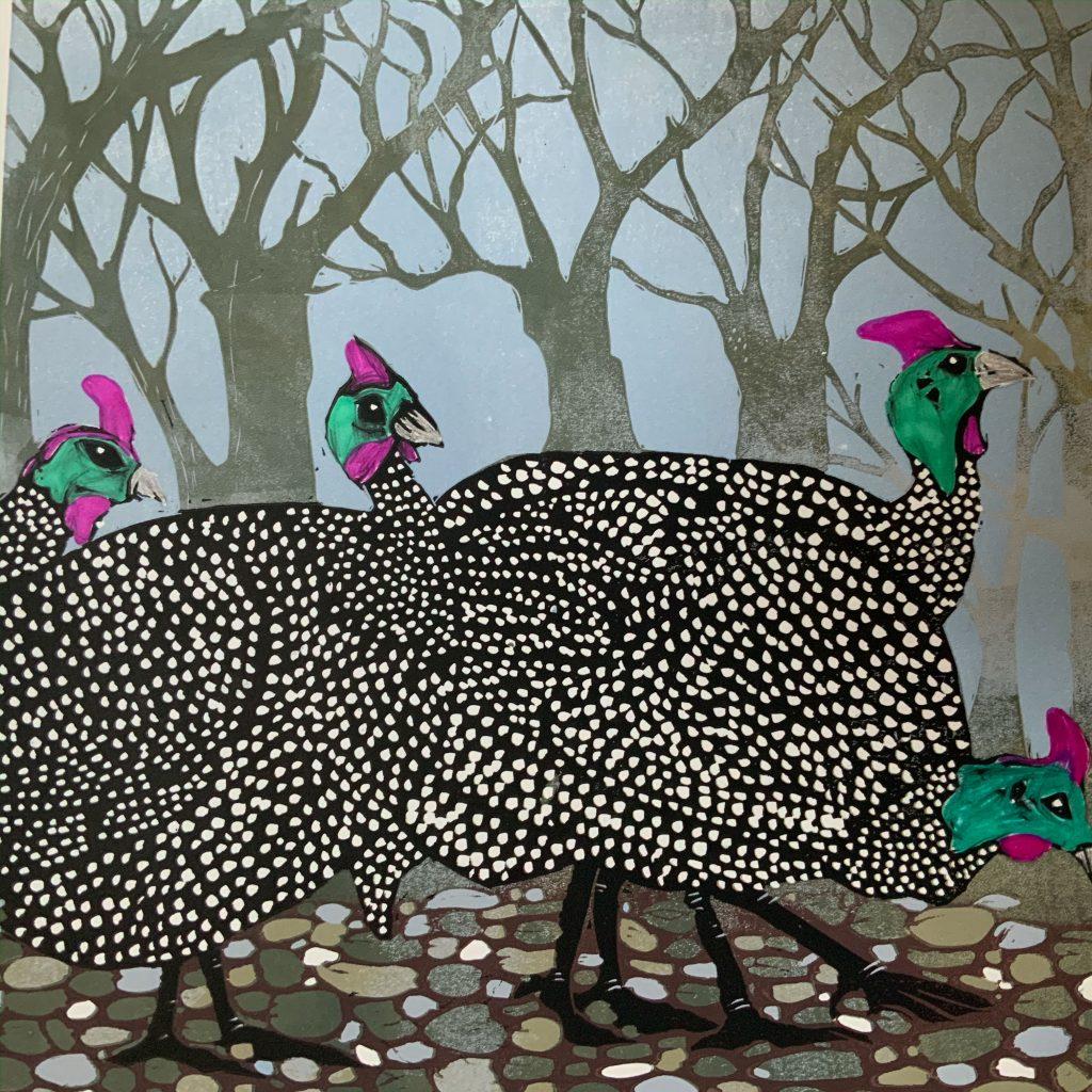 Out (Guinea Fowl)  -  Linocut  -  30 cm x 30 cm (50 cm x 40 cm  mount )  -   £135
