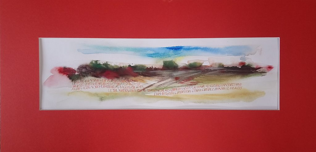 Let Us Go - Ink, watercolour, gouache - Jane Knights - 56 x 27 cm unframed (red mount) - £160