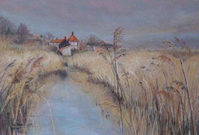 Cottages at Cley - Pastel - Jane Dalton - Framed 58 x 45 - £130