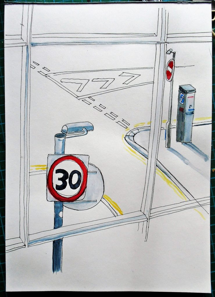 No Entry, Slow Down, Give Way - ink and watercolour on paper - Mary Rouncefield -     20 x 30 cm - £125
