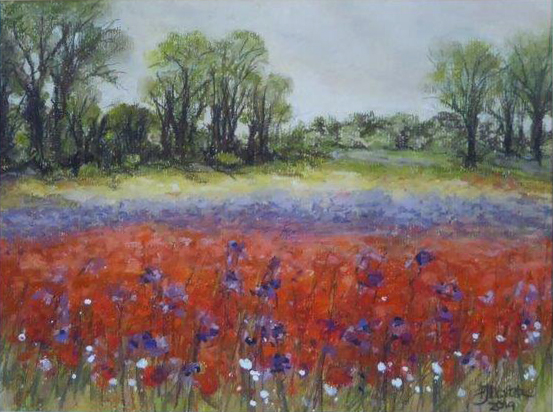 Poppy Field', Hargham Road -Pastel - Jane Dalton - Framed  43 x 36 cm - £60