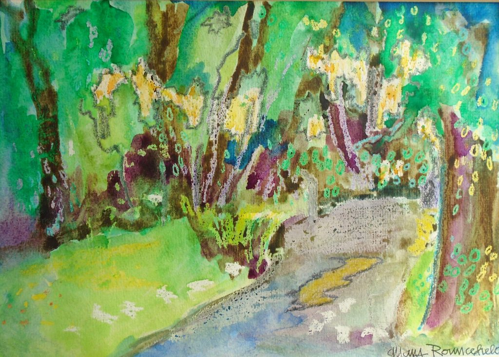 Quiet Lane - Watercolour and wax -Mary Rouncefield - 30 x 20 cm - £125