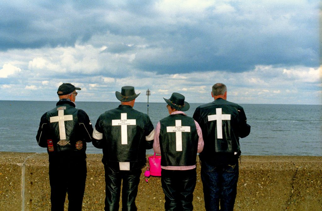 Christian Motorcyclists - Si Barber - 40 x 30 cm - £40 - Members of the Christian Motorcyclists Association visiting Hunstanton,Norfolk,UK during the Covid19 pandemic.