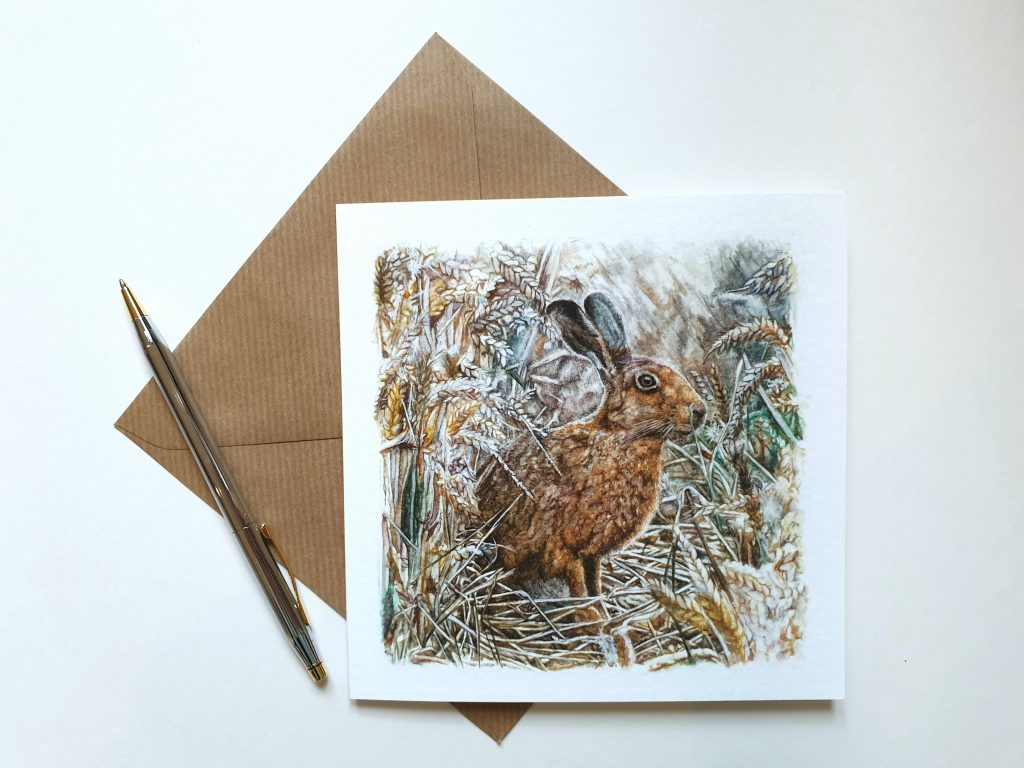 Tori Woolley - Harvest Hare Greeting Card - Watercolour - 15 x 15 cm - £3.50 (Please note Posting & Packaging prices are in addition to this)