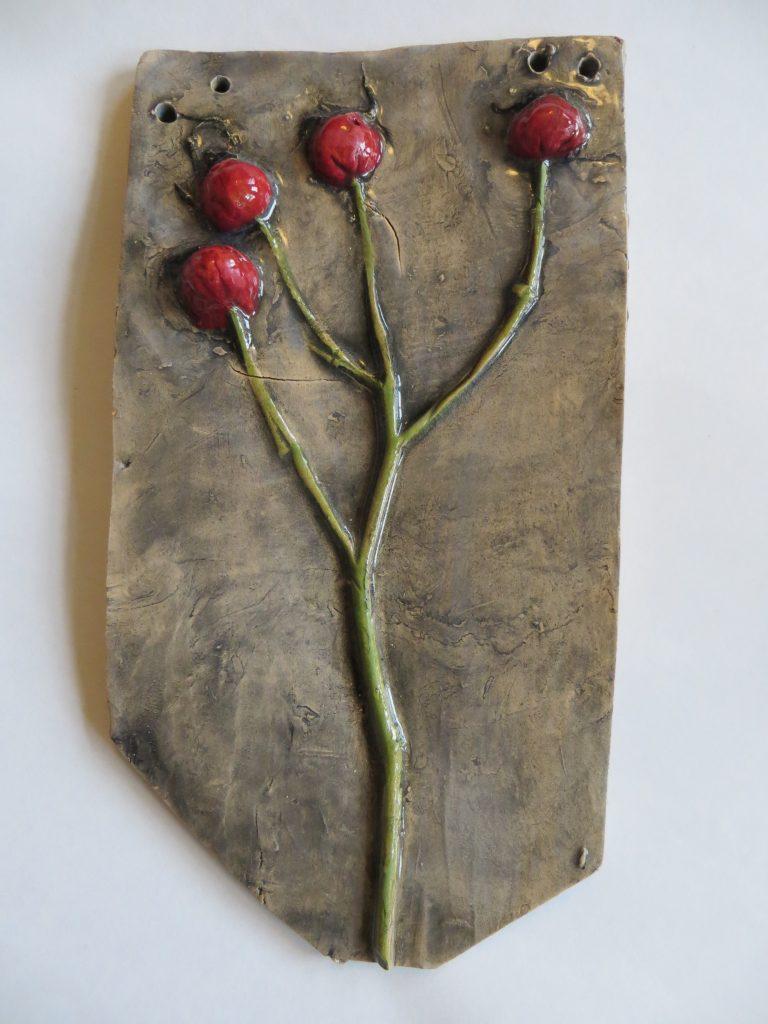 Sarah Caputo - 4 Rose Hip plaque - Ceramic - 23 x 13 cm - £25
