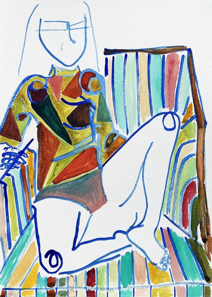 Maria Kelesidi - Velvet Armchair - watercolour on arches paper - 23 x 31 cm - £250