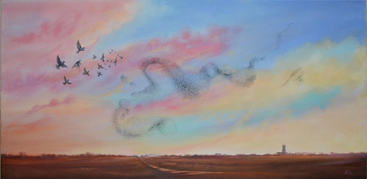 Lorraine Auton - As One, Murmuration - Acrylic - 125 x 65 cm - £475