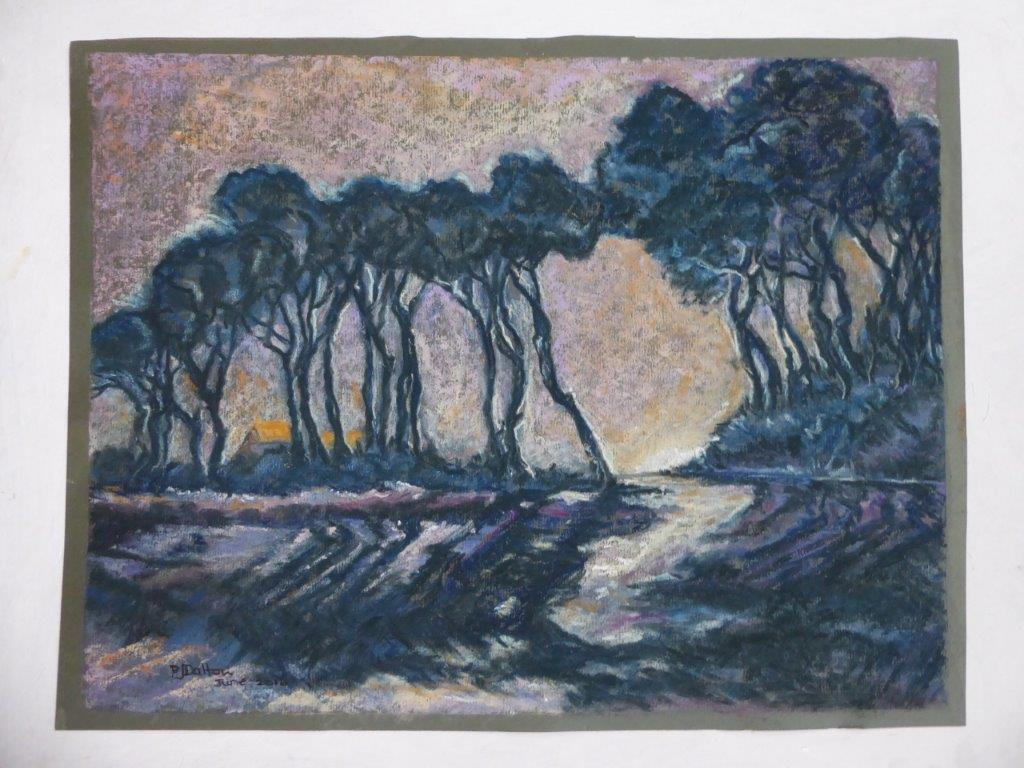 Jane Dalton  - Breckland Trees Pastel framed 55x46 -  £130