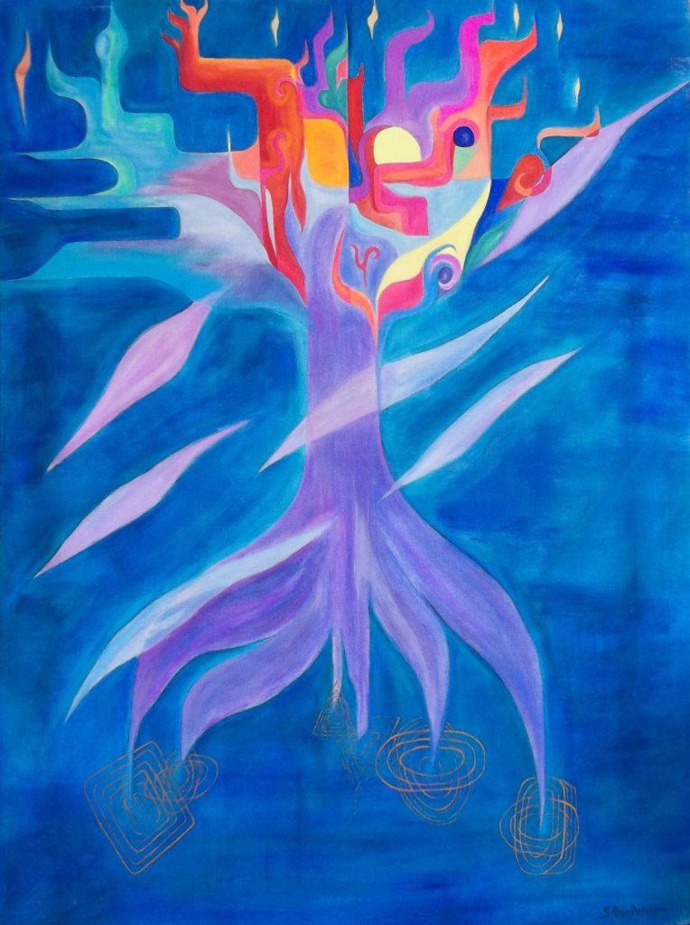 Sonia Ben Achoura - The Cosmic Tree - Acrylic on canvas - W56 x H67 - £950