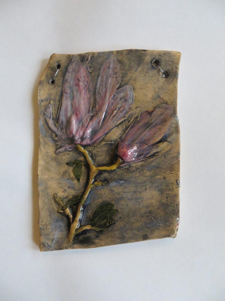 Sarah Caputo - Magnolia plaque  - Ceramic - 17 x 13 cm - £25