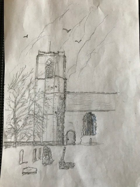 Neil Cordell - Caston Church - Pencil Drawing
