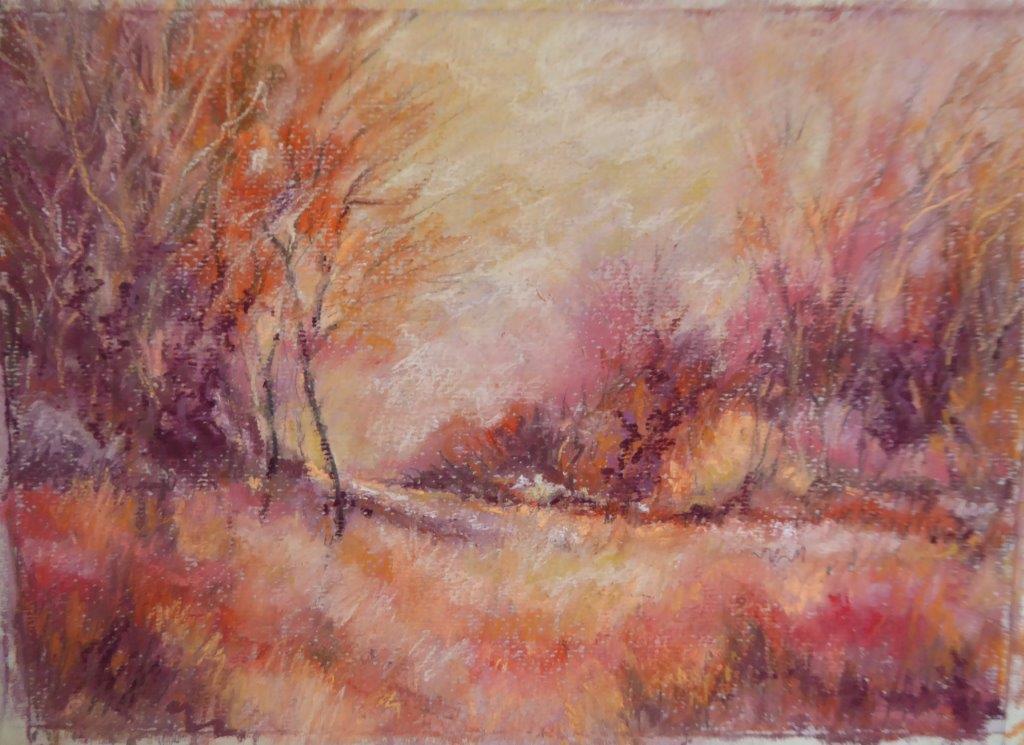 Jane Dalton  - Pink Norfolk Landscape - Pastel Framed 38x30cms  £65