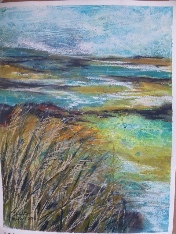 Jane Dalton  - Cley Marshes -Pastel & Watercolour - Framed 46x56  £85