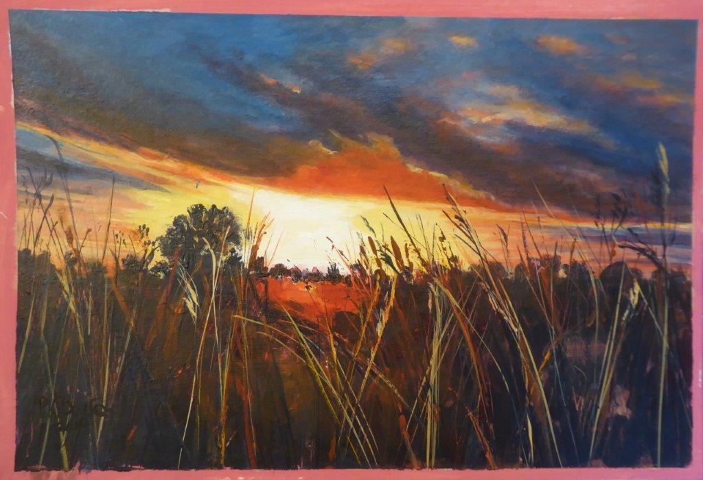 Jane Dalton  - Sunset, Old Buckenham - Acrylic Framed 48x38cms £90