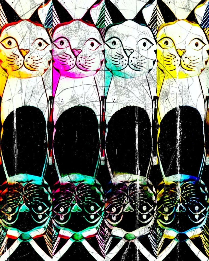 Pybus - The Colourful Personality Of Cats - Digital art - 80 x 60cm - £150