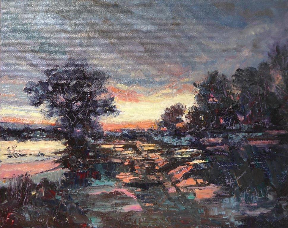 Jane Dalton - Wacton  Pond Aug 2020 - Oil 30x24 cms  £95