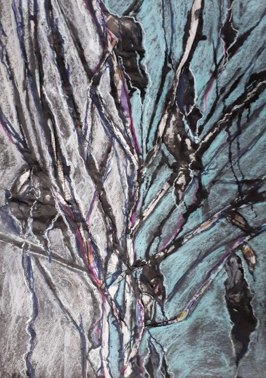Jane Dalton  - Falling Leaves 2 - pastel/Ink    mounted  41 x 59  £25