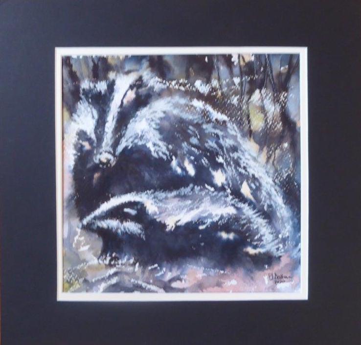 Jane Dalton - Badger & Cub - 28 x 28 cm - £55