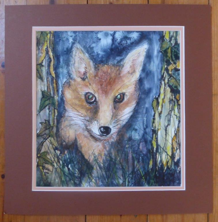 Jane Dalton - Foxy - ink 28x30 (mounted only) - £55