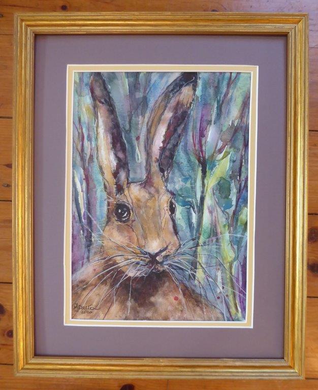 Jane Dalton - Hare - 32 x 38 cm (framed) - £75