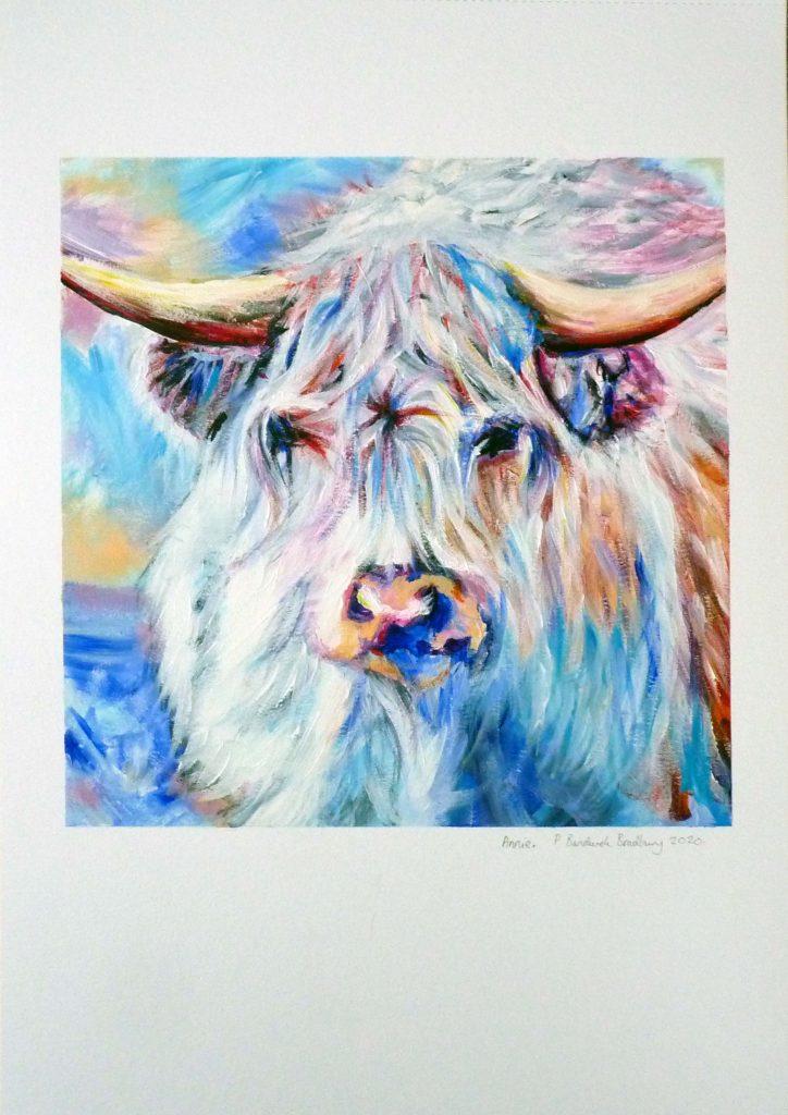 Philippa Bandurek Bradbury - Annie - acrylic paint - approx 24 x 24 cm on A3 240 gsm canvas sheet - £70