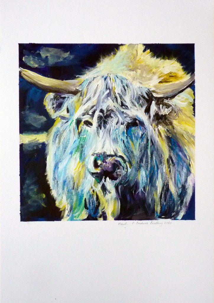 Philippa Bandurek Bradbury - Maud - acrylic paint - approx 24 x 24 cm on A3 240 gsm canvas sheet - £70