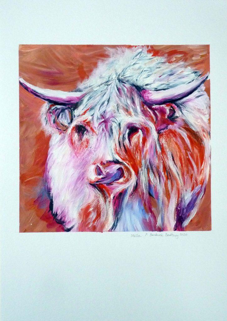 Philippa Bandurek Bradbury - Stella - acrylic paint - approx 24 x 24 cm on A3 240 gsm canvas sheet - £70
