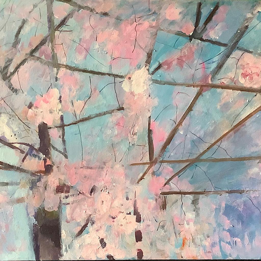 Angela Bell - Cherry blossom in Tokyo - Acrylic - 76 x 50 cm - £250