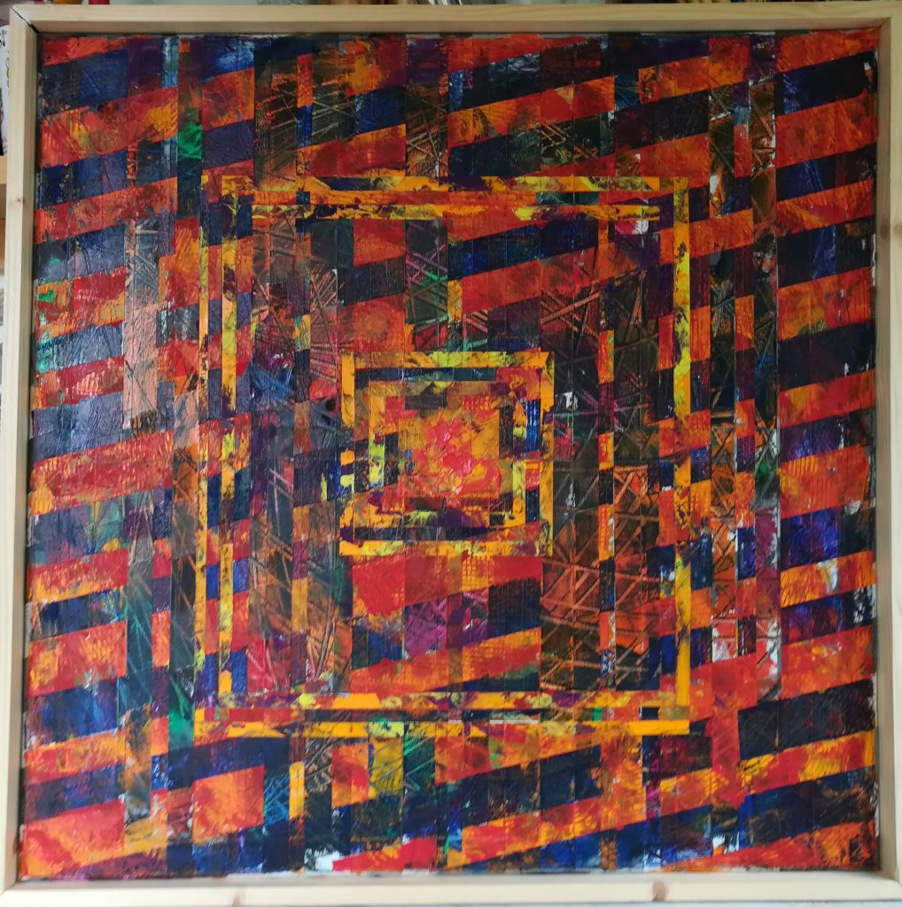 John Rance - Fire Square - Oil on board - 60 x 60 cm - £150