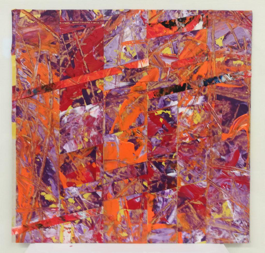 John Rance - Orange Dawn - Oil on board collage - 21 x 21 cm - £50