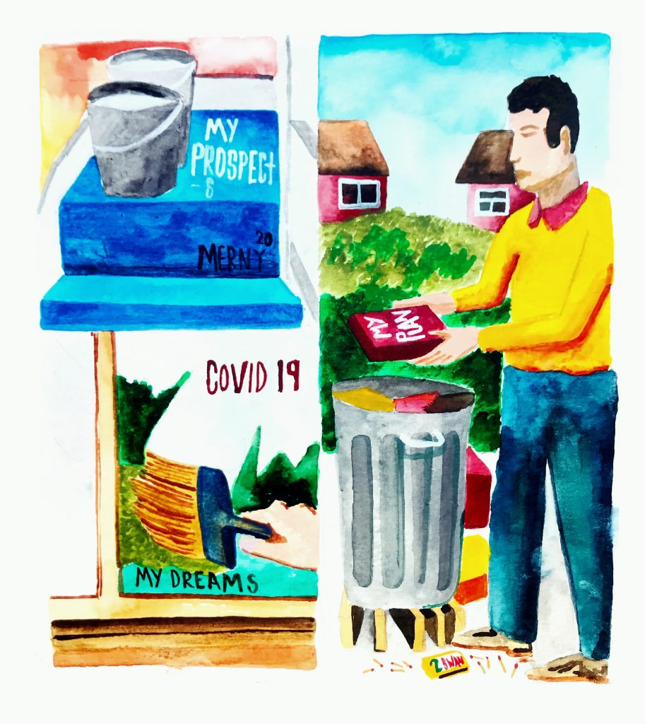 MERNY - My Prospects - Watercolour & Gouache on Paper - 20 CM X 20 CM - £150