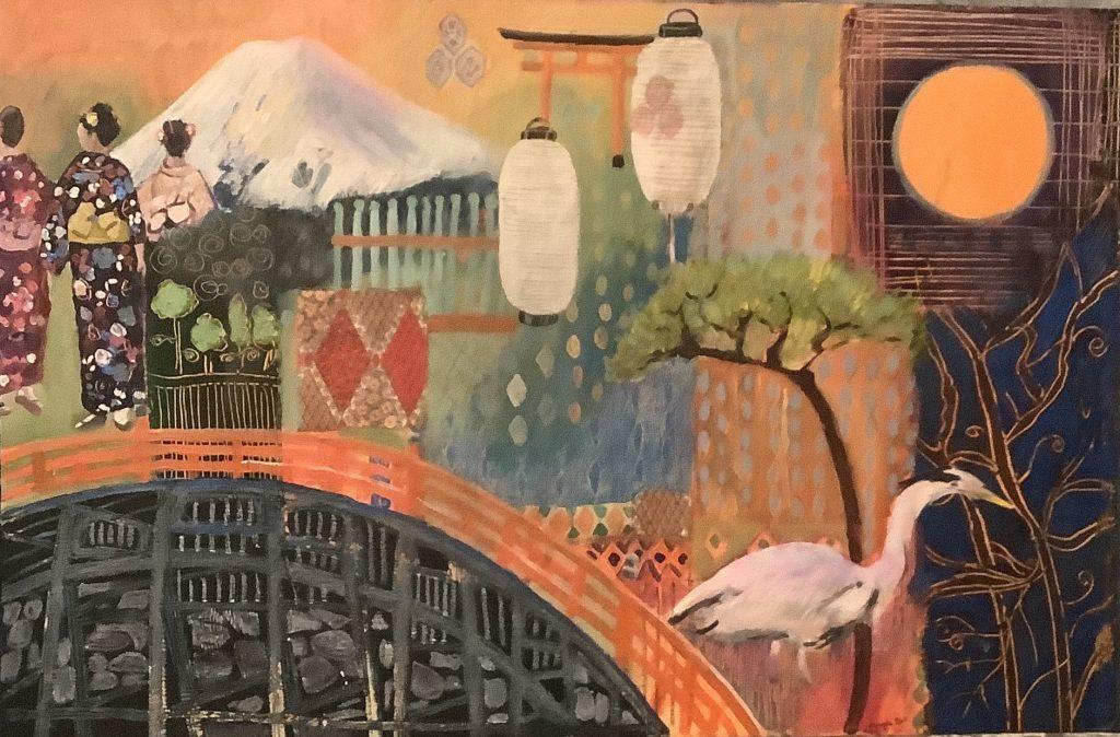 Angela Bell - Orange Moon - Mixed media - 76 x 50 cm -  £325