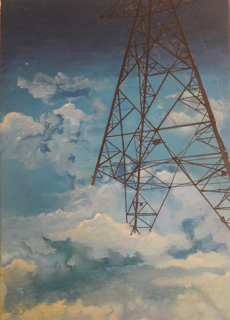 Alison Stirling - Pylon with clouds - Giclee print (1/75) - 21 cm x 27.9 cm - £65