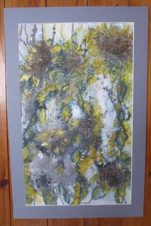 Jane Dalton - Sunflowers - Mixed Media & gold (Framed) 43 x 66 cm - £90