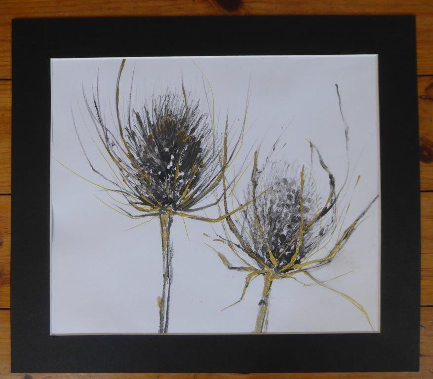 Jane Dalton - Teasel Black - Ink / Gold - (Mounted only) - 36 x 41 cm  - £25