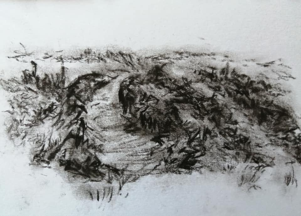 Sam Clift - The diggers arrive - Charcoal on paper - 15 x 10.5 cm - £75