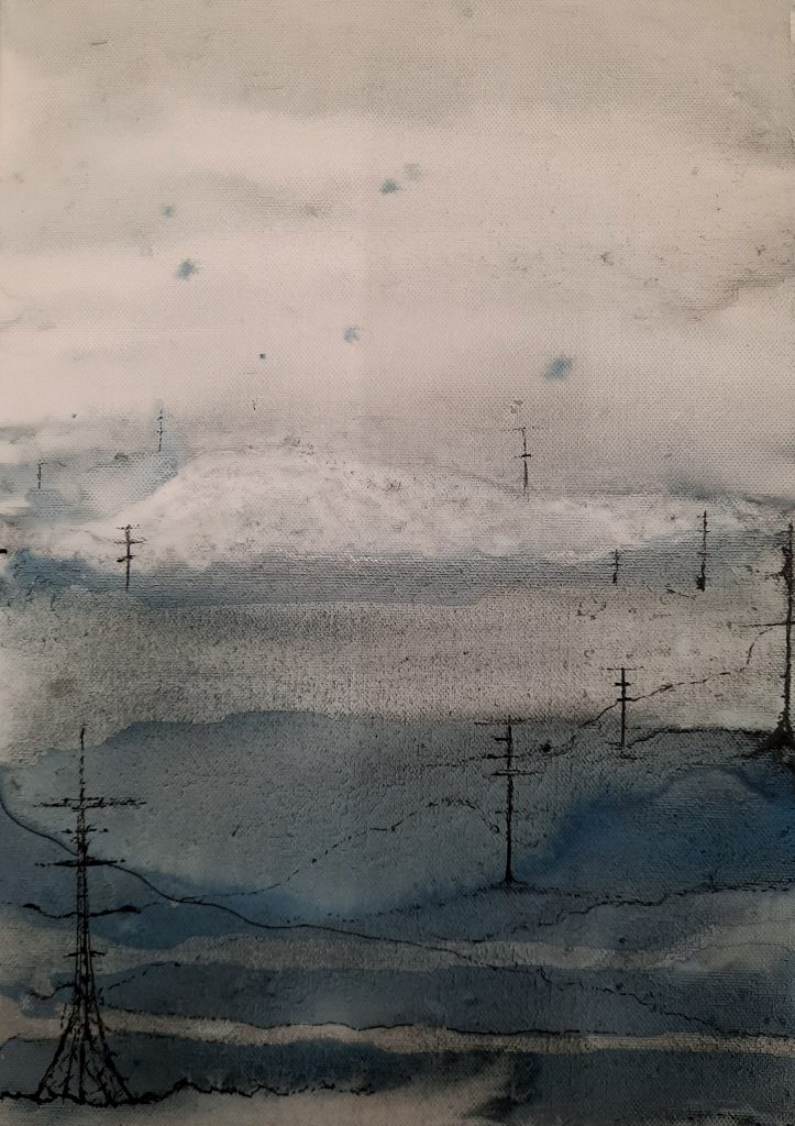 Alison Stirling - View from a train in an imagined landscape - Giclee print (1/75) - 21 cm x 28.5 cm - £65