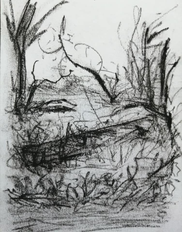 Sam Clift - Waiting on the edge - Charcoal on paper - 10 x 15 cm - £75