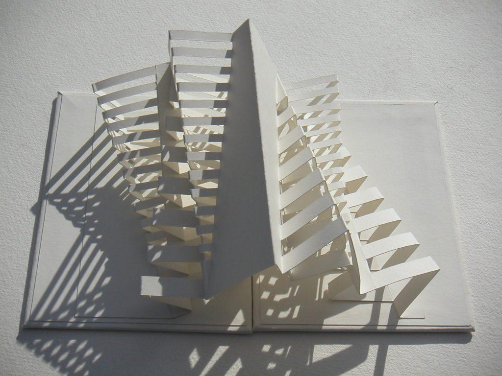 Lizanne van Essen - White Peril - artist's book sculpture;  card and paper - 12 x 16 cm (closed)- £65