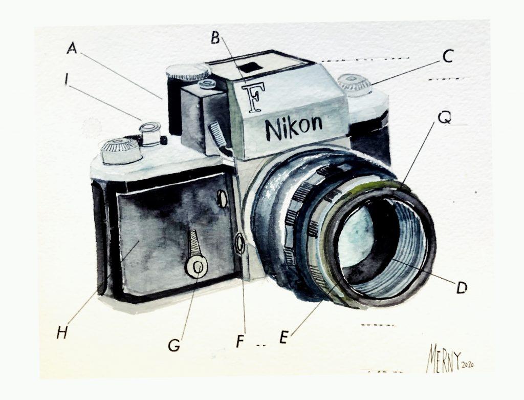 MERNY - Nikon F - Watercolour, Gouache & Letraset on Paper - 21 x 16cm - £200