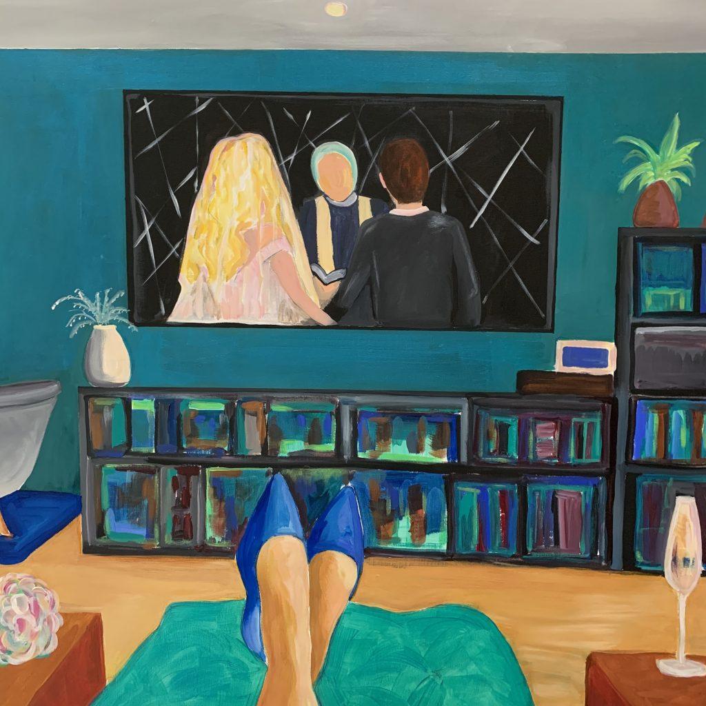 Caroline Lovett - Virtual Wedding - Acrylic paint on canvas - 100 x 100 cm - £800