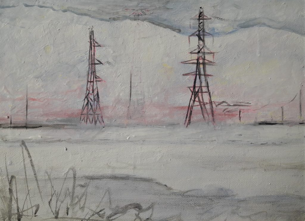 Alison Stirling - Winter landscape - Acrylic on canvas - 21 cm x 29.7 cm - £125